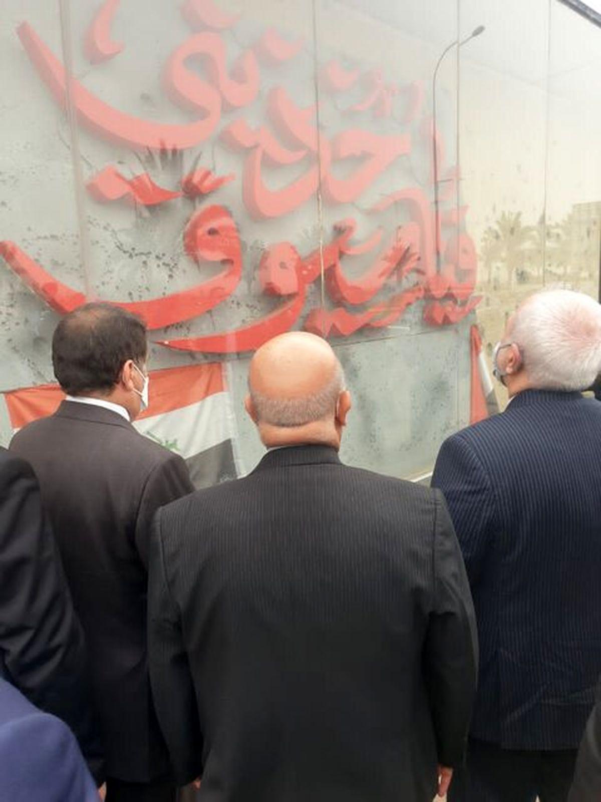وزیر خارجه در محل شهادت حاج قاسم حاضر شد