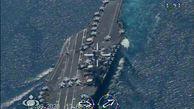 پهپادهای ایرانی در حال پرواز و رصد ناو هواپیمابر نیمیتز آمریکا در تنگه هرمز|تصاویر