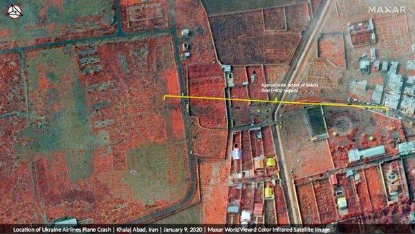 تصاویر ثبت شده بقایا و لاشه هواپیمای اوکراینی توسط ماهواره آمریکایی را ببینید