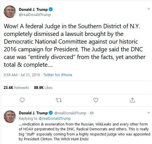 جشن ترامپ در توییتر؛ شکار موهومات به پایان رسید