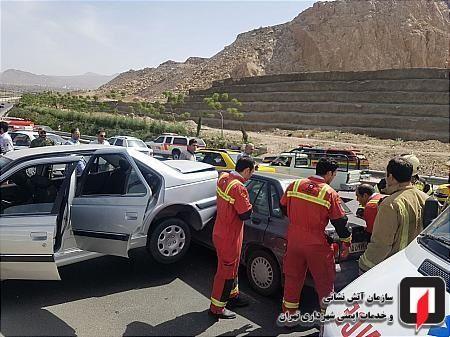 گزارش تصویری/تصادف شدید پراید و پرشیا در بزرگراه امام علی(ع)