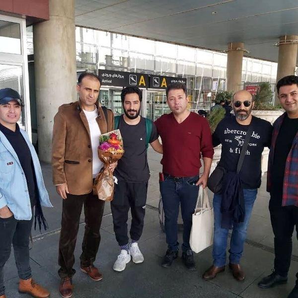 نوید محمدزاده، سعید روستایی و محسن تنابنده هنگام ورود به تهران