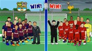 فیلم/ پیش بازی انیمیشنی بارسلونا و لیورپول در لیگ قهرمانان