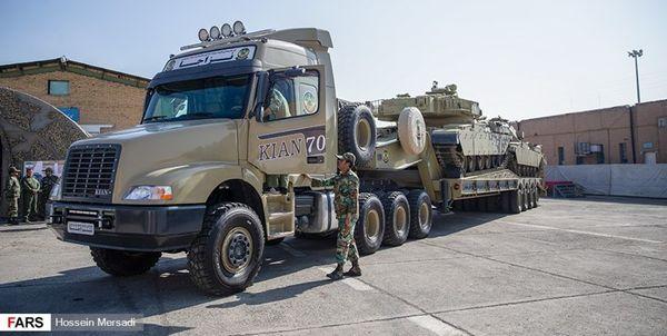 گزارش تصویری/ تانکبر قدرتمند کیان با قابلیت حمل ۲ دستگاه تانک ۶۰ تنی